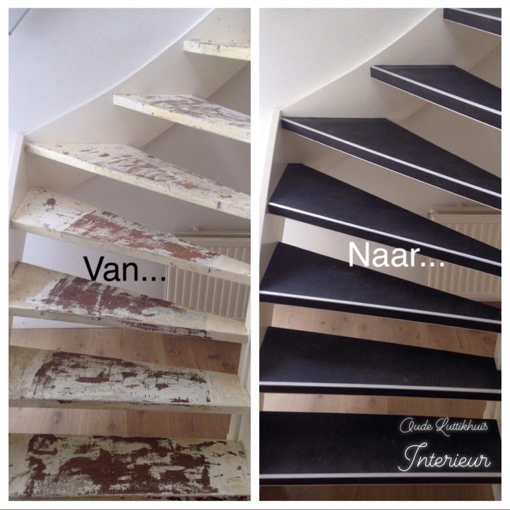 Ook heeft ons team vandaag deze trap voorzien van een mooie betonlook pvc-vinyl …